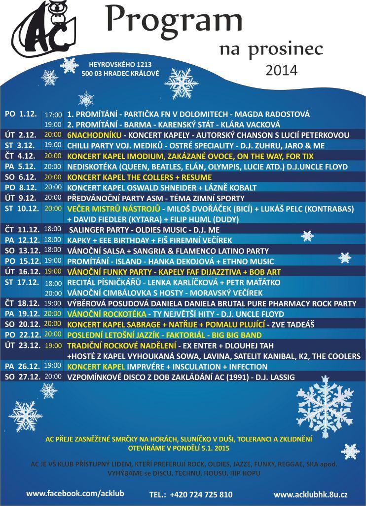Program AC klubu - prosinec 2014